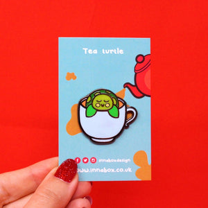 Tea Turtle - Enamel Pin - Innabox - self care