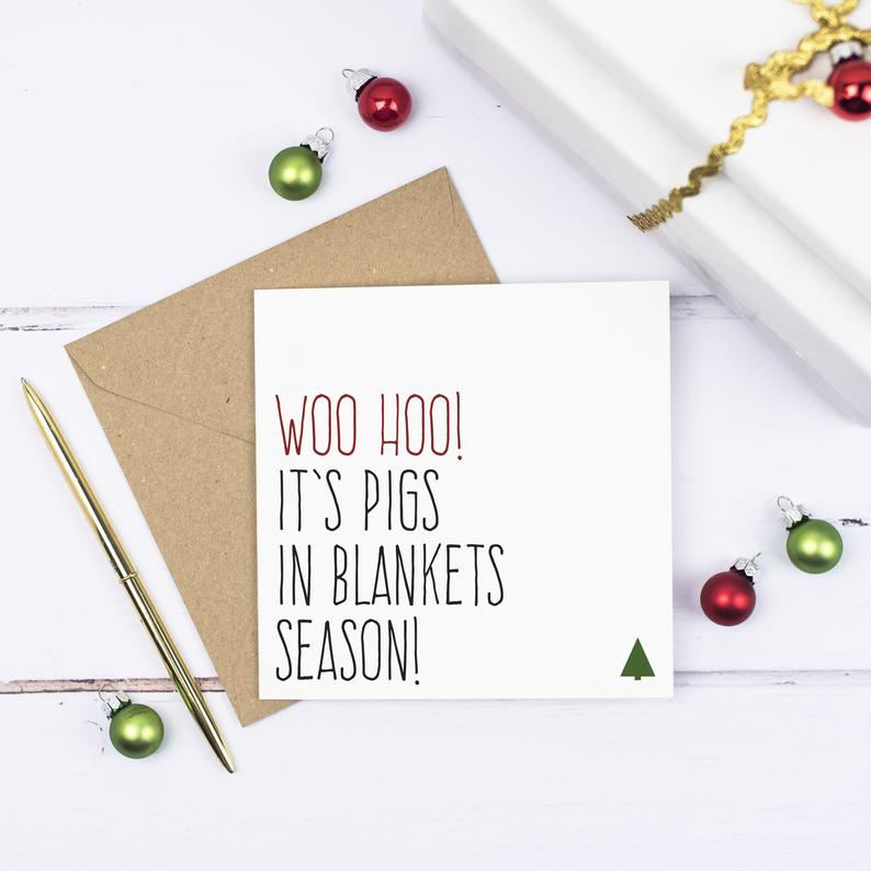 It's Pigs in Blankets season - funny Christmas Card - Purple Tree Designs