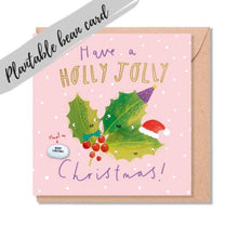 Load image into Gallery viewer, Holly Jolly Christmas Card - Plantable Bean Card - LucyandLolly - Christmas greetings