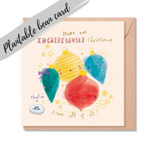 Load image into Gallery viewer, Bauble Christmas Card - Plantable Bean Card - LucyandLolly - Christmas greetings
