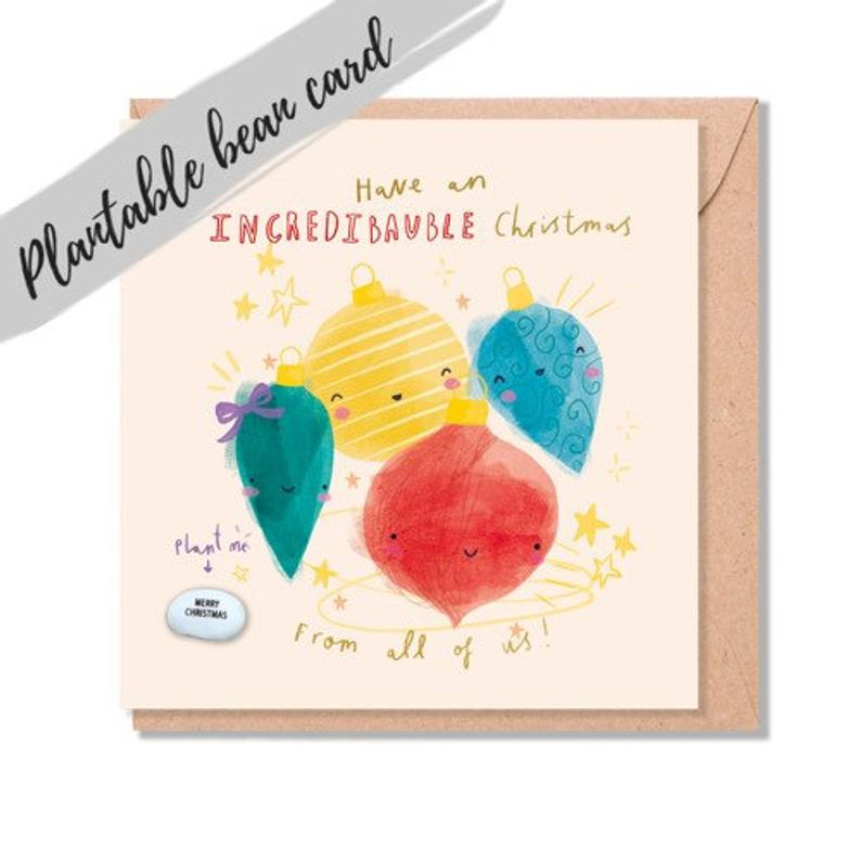 Bauble Christmas Card - Plantable Bean Card - LucyandLolly - Christmas greetings