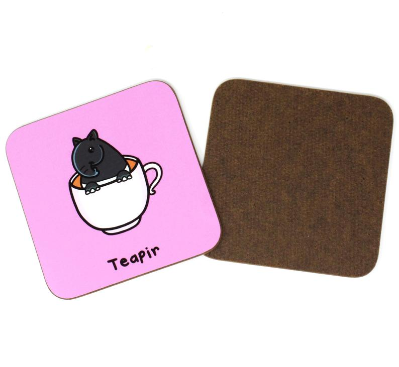 Teapir coaster - Innabox - Puns - Animal lover gift -Tea Lovers - Tapir
