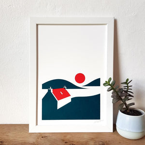 Red Roof Cottage Screenprint - A4 print - Scotland - Adventurers - Or8 Design