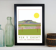 Load image into Gallery viewer, Pen Y Ghent travel inspired poster print - Sweetpea & Rascal - Yorkshire Dales - 3 Peaks