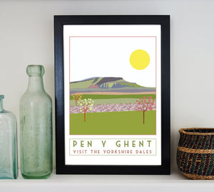 Pen Y Ghent travel inspired poster print - Sweetpea & Rascal - Yorkshire Dales - 3 Peaks