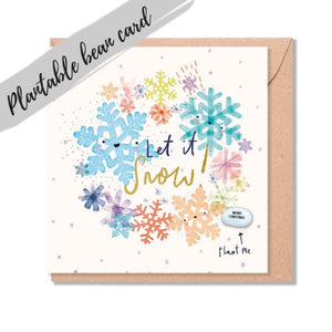 Let it Snow Christmas Card - Plantable Bean Card - LucyandLolly - Christmas greetings