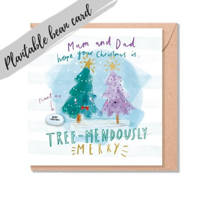 Mum and Dad Christmas Card - Plantable Bean Card - LucyandLolly - Christmas greetings