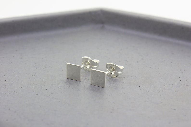 Square/Diamond Stud Earrings - Sterling Silver - Maxwell Harrison Jewellery