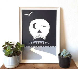 Skull Print Poster - Screen Print - Or8Design