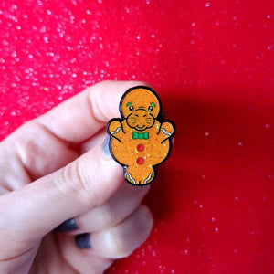 Gingerbread Manatee Enamel Pin - Funny Christmas Pins - Innabox