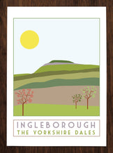 Load image into Gallery viewer, Ingleborough travel inspired poster print - Sweetpea & Rascal - Yorkshire Dales - 3 Peaks