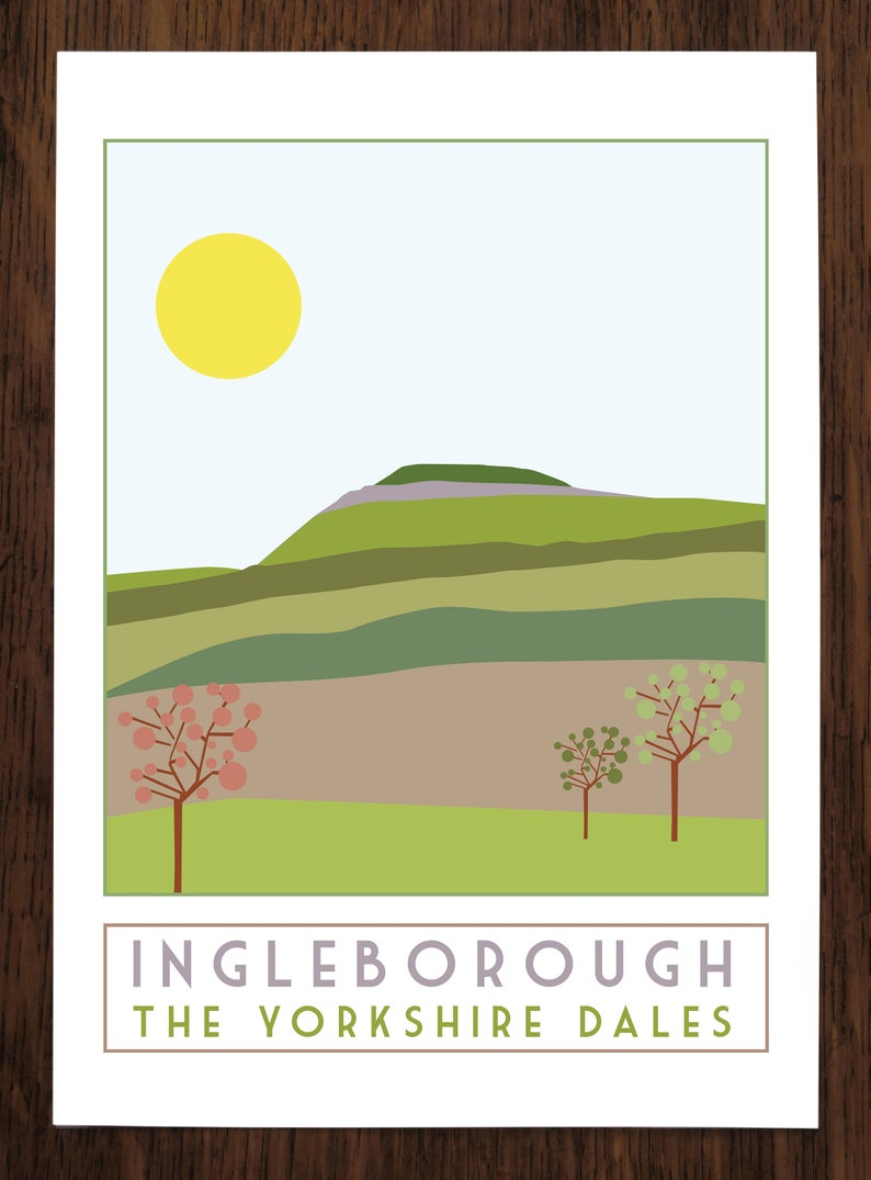 Ingleborough travel inspired poster print - Sweetpea & Rascal - Yorkshire Dales - 3 Peaks
