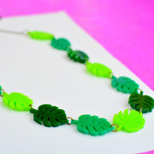 Load image into Gallery viewer, Monstera Leaf Statement Necklace - Acrylic Leaf necklace - Silly Loaf - Bright and colourful - Plant lovers gifts
