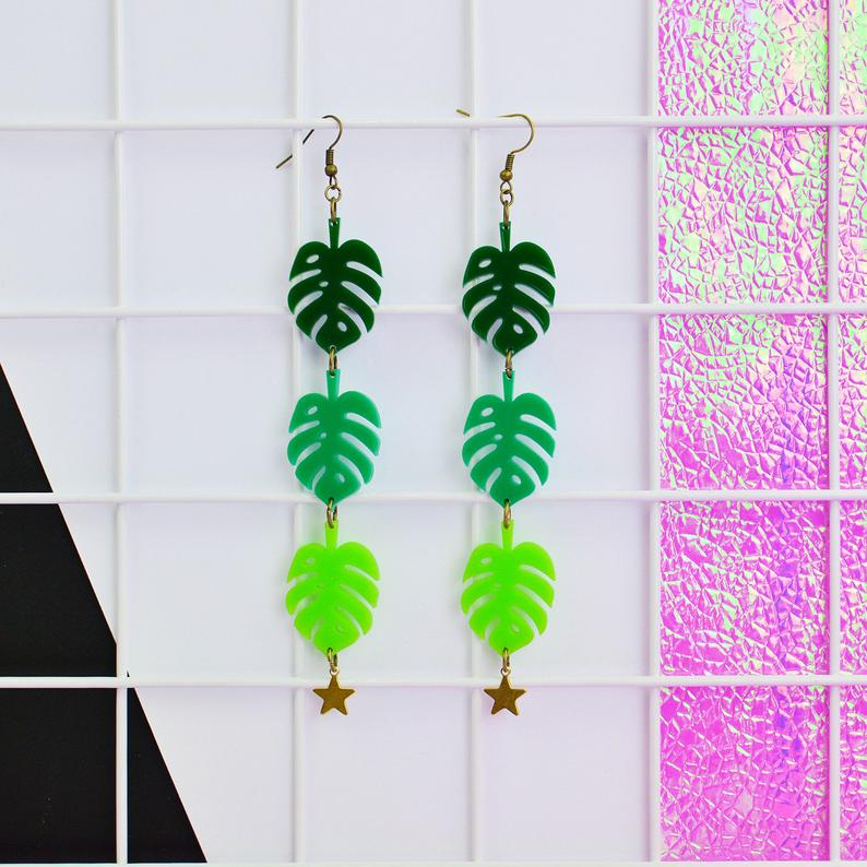 Monstera Leaf Drop Statement Earrings - Acrylic Earrings - Silly Loaf - Bright and colourful