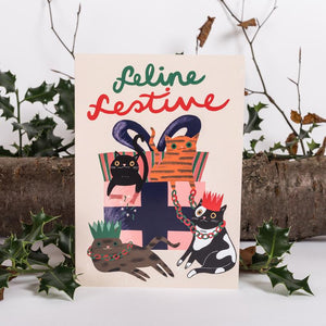 Feline Festive Christmas Card - Jenna Lee Alldread - Christmas greetings - Cat lovers