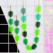 Load image into Gallery viewer, Monstera Leaf Drop Statement Earrings - Acrylic Earrings - Silly Loaf - Bright and colourful