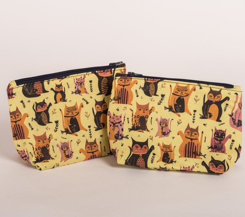 Lucky Cats pouch - Jenna Lee Alldread - make up bag - pencil case - cat lover gifts