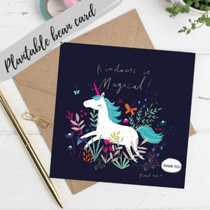 Plantable Bean Greetings Card - Kindness is Magical - unicorn card