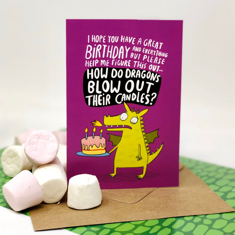 Birthday Card - puns - Katie Abey - Dragon
