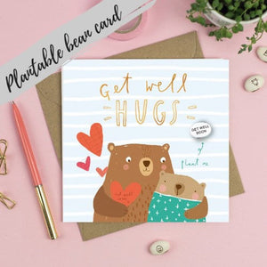 Plantable Bean Greetings Card - Get Well Hugs