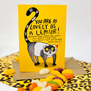 Greetings Card - puns - Katie Abey - Lovely as a lemur