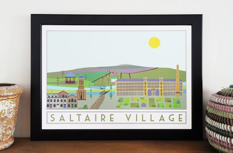 Saltaire travel inspired A3 poster print - Sweetpea & Rascal - Yorkshire prints