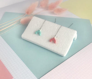 Laser Cut Acrylic Rainbow Thread Earrings - Mint and Coral mismatch - Laura Fernandez Designs