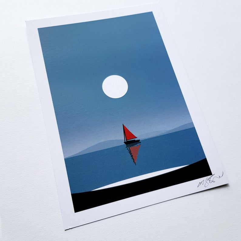Coastal Sailboat - art print - A4 or A5 - Adventurers - Wanderlust - Or8 Design