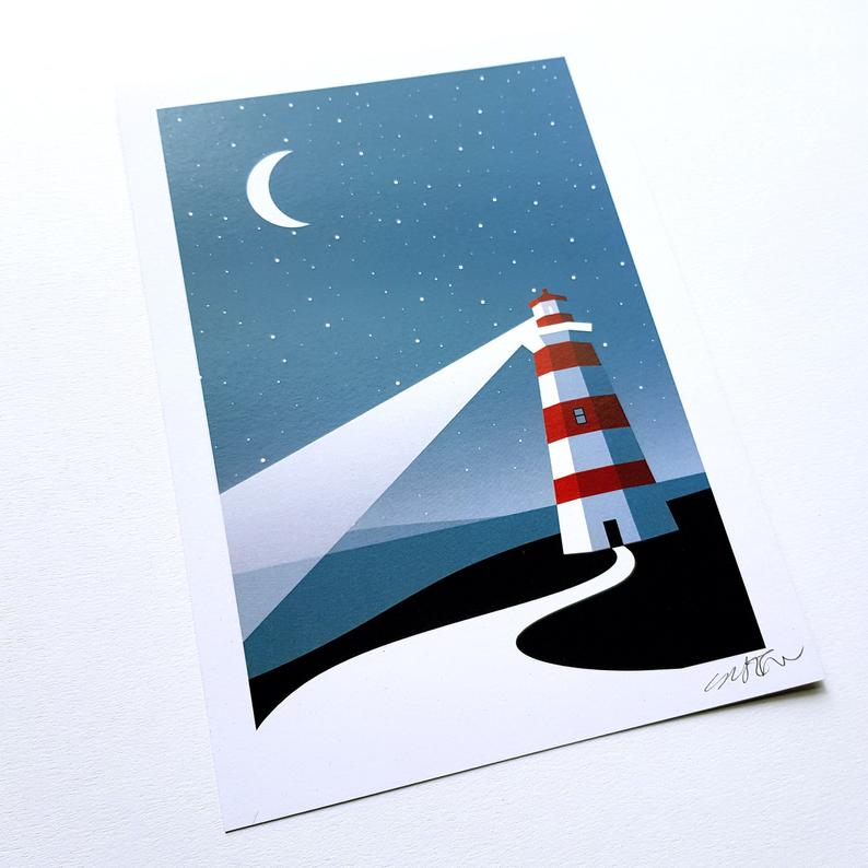Coastal Lighthouse - art print - A4 or A5 - Adventurers - Wanderlust - Or8 Design