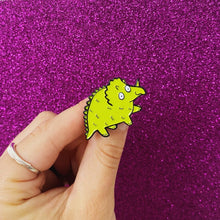 Load image into Gallery viewer, Dinosaur Enamel Pin - Try-ceratops - Tricerotop - Self care - Katie Abey