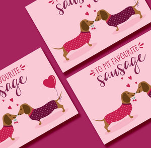 To my favourite Sausage - Sausage Dogs Greetings Card - Blush and Blossom - Love, Valentines, Anniversary