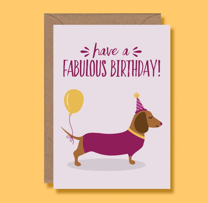 Birthday card - Sausage Dogs - Blush and Blossom