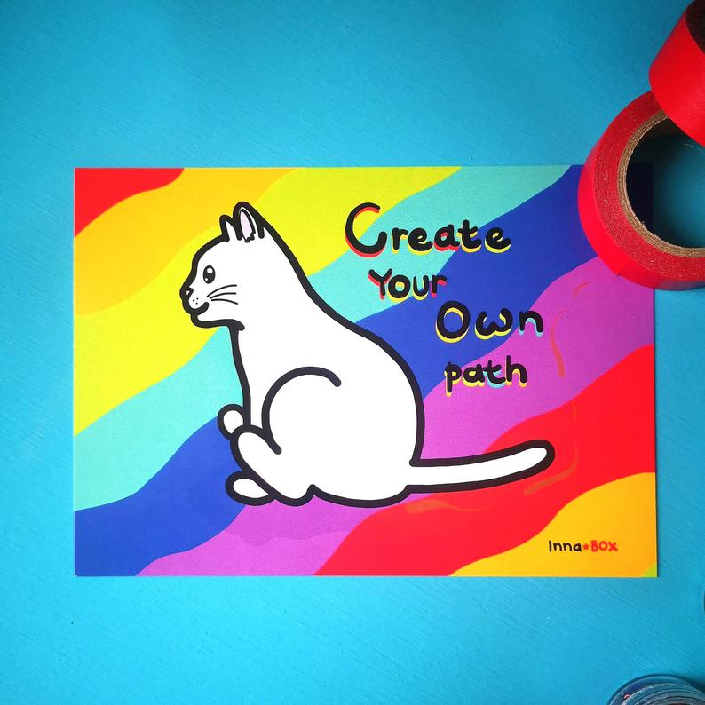 Create your own path postcard - Innabox - animal butts - fun cat postcards