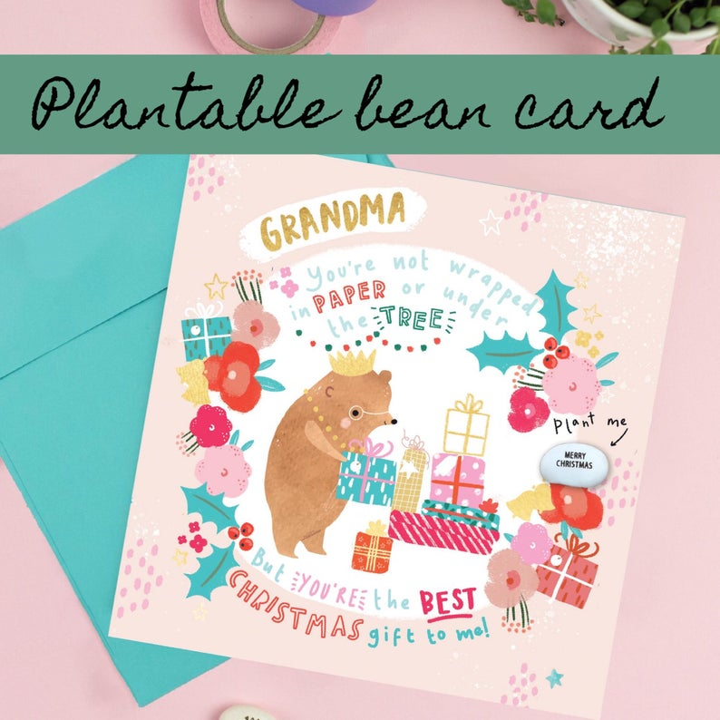 Grandma Christmas Card - Plantable Bean Card - LucyandLolly - Christmas greetings