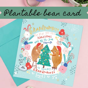 Grandparents Christmas Card - Plantable Bean Card - LucyandLolly - Christmas greetings
