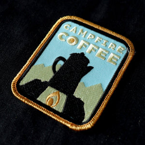 Campfire Coffee Embroidered Patch - Or8 Design - camping, outdoors, adventure - Coffee lv