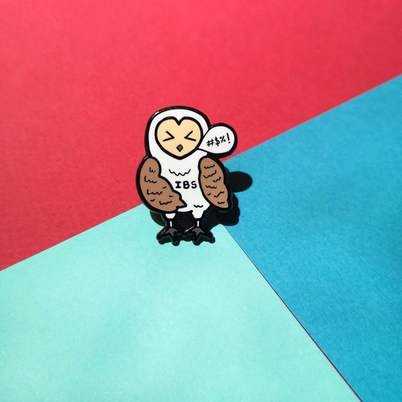Irritable Owl Syndrome Enamel Pin - Invisible Illness Club - Innabox - self care - IBS