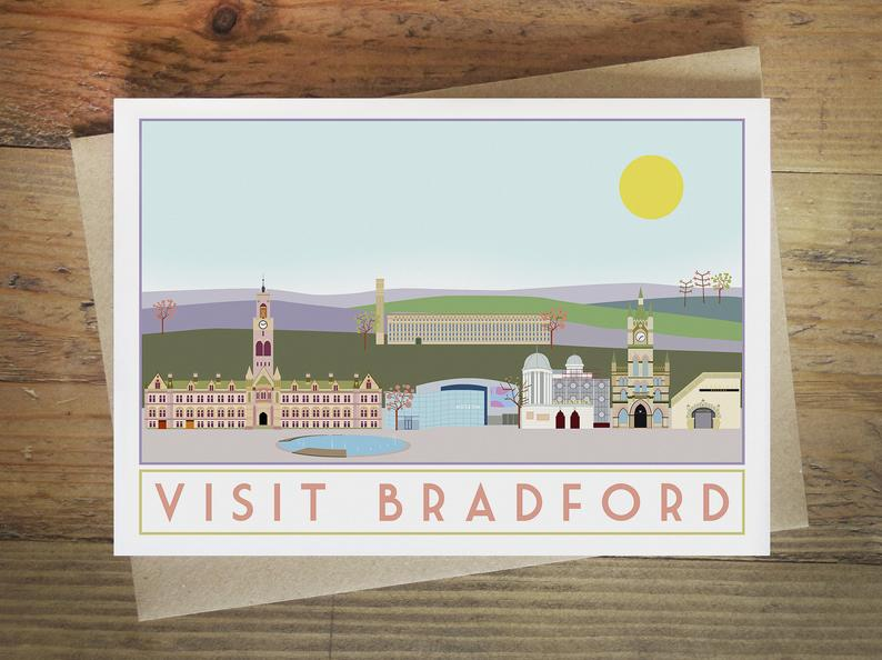 Bradford greetings card - tourism poster inspired - Sweetpea and Rascal - Yorkshire scenes