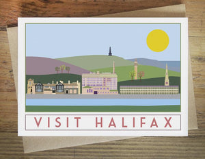 Halifax greetings card - tourism poster inspired - Sweetpea and Rascal - Yorkshire Greetings