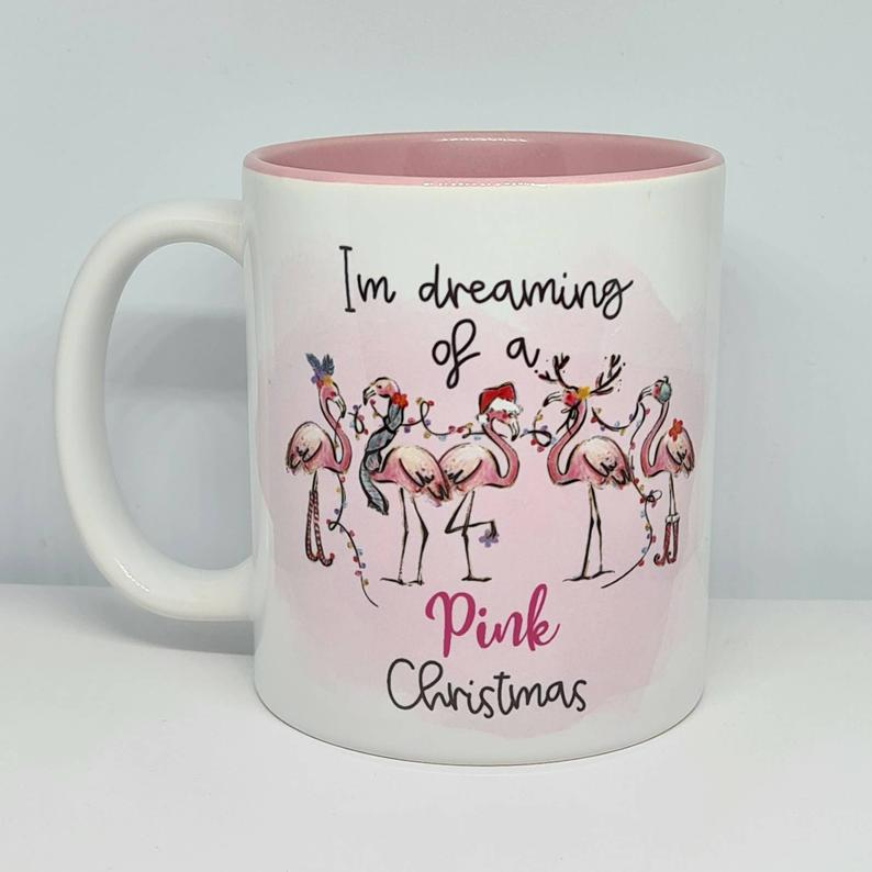 Dreaming of a Pink Christmas Mug - Pink Flamingo - Christmas Gift idea - The Crafty Little Fox