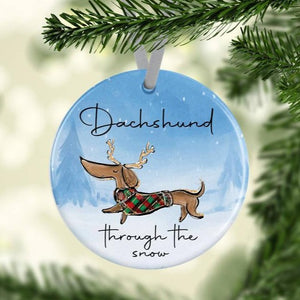 Dachshund Through the Snow - Ceramic Tree Decoration - The Crafty Little Fox - Christmas Gift Idea