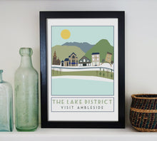 Load image into Gallery viewer, Ambleside travel inspired poster print - Sweetpea & Rascal - Lake District Cumbria