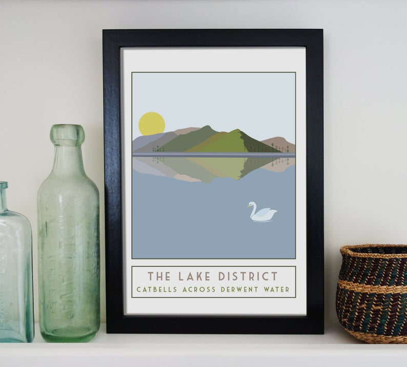 Catbells travel inspired poster print - Sweetpea & Rascal - Lake District Cumbria