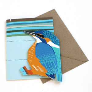 Pop Up Greetings Card - Kingfisher - Bird Sculpture - Faye Stevens Design - Papercraft