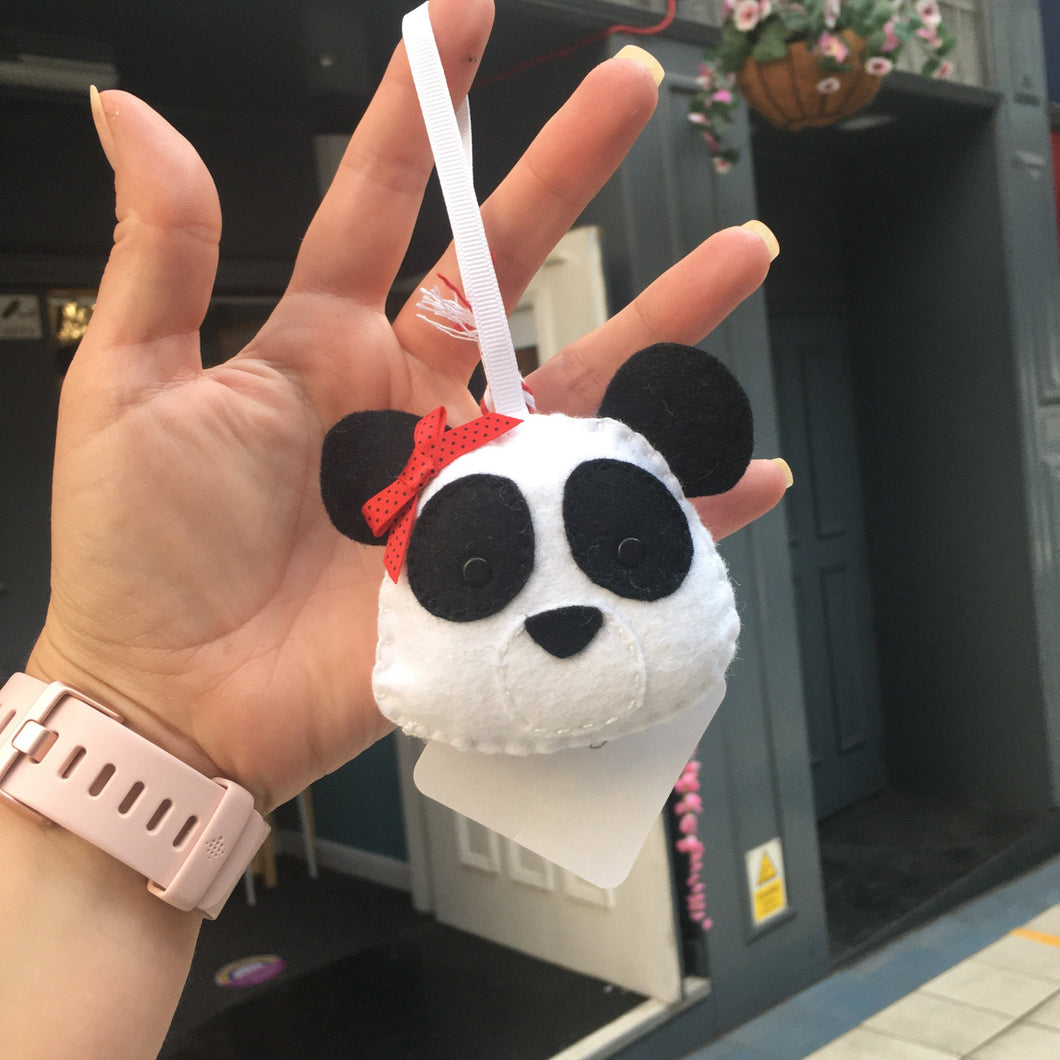 Felt Panda with Bow - Giddy Designs