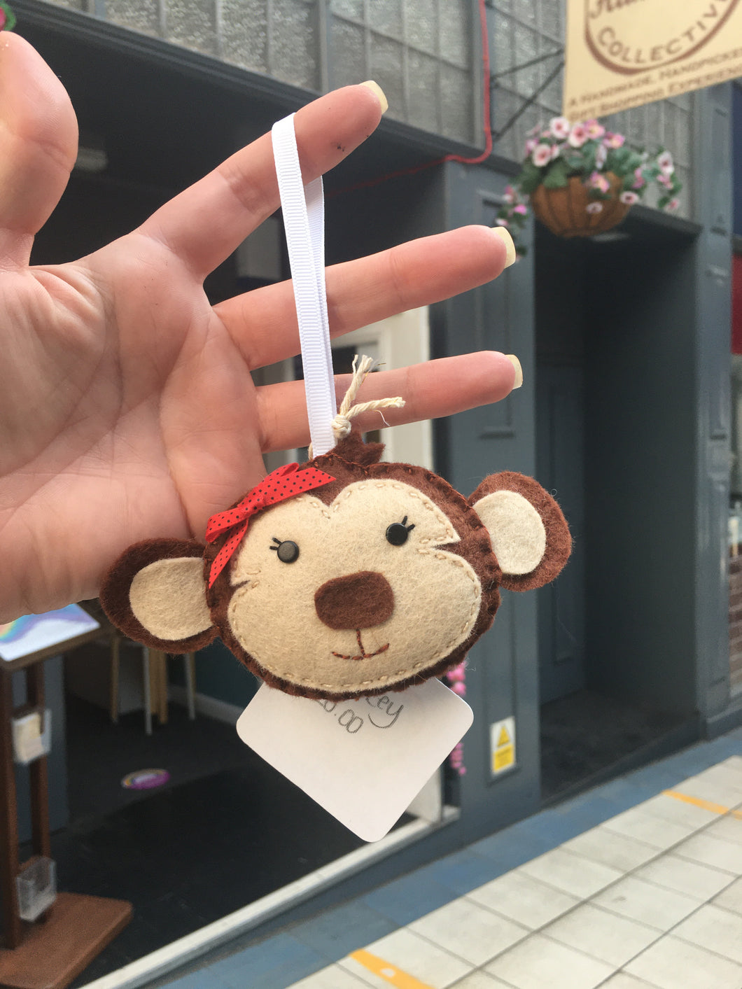 Felt Monkey with Bow Decoration - Giddy Designs