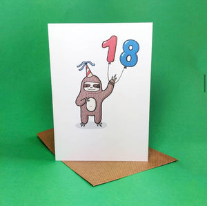 18 - 18th Birthday- Card - Sloth - Bronte Laura Illustration