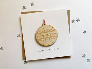 Merry Christmas Bauble Decoration Christmas Card - HuandMee - Christmas greetings - Christmas gift idea