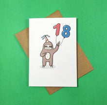 Load image into Gallery viewer, 18 - 18th Birthday- Card - Sloth - Bronte Laura Illustration