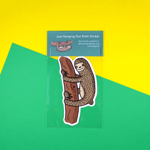 Just Hanging Out Sloth Sticker - Sloths - Bronte Laura Illustration